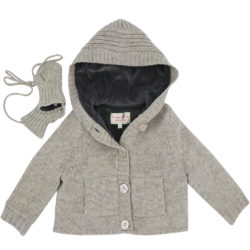 woollen lined cardigan with hood