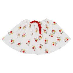 Stick girls print on a white cotton poplin ra ra skirt