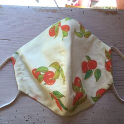 Adult size cherry print mask in Green