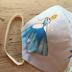 Age 6-10 yr double woven cotton cinderella print in blue mask